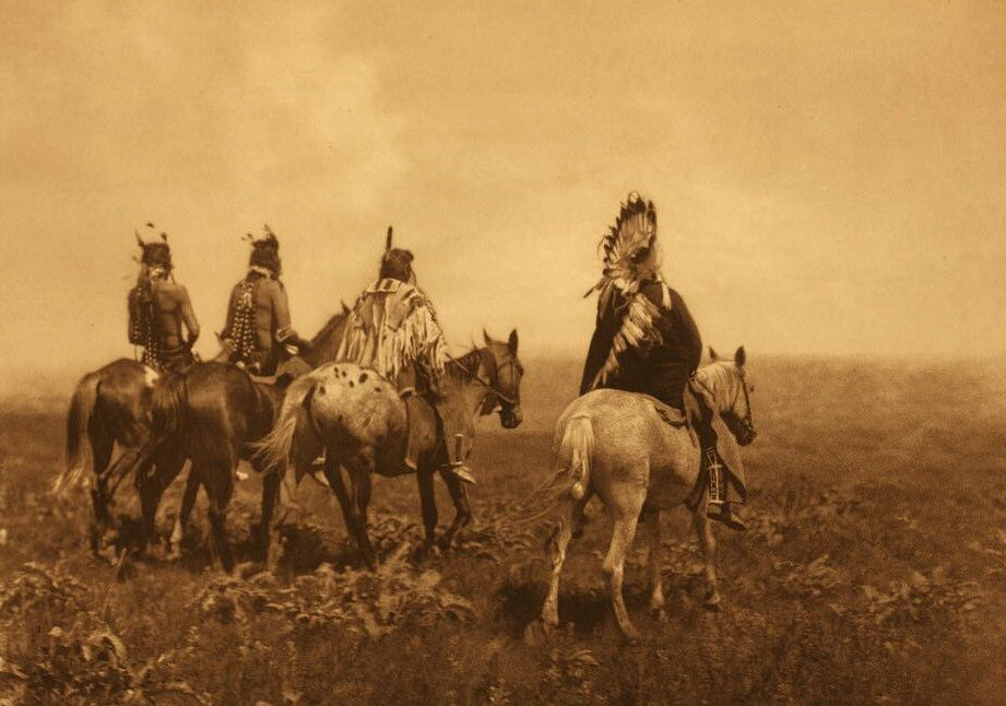 American Indians : Apsaroke Chief and his Staff.