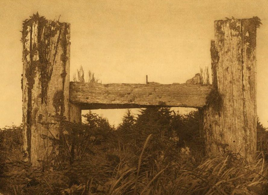 A Photograph of a Decaying Haida Houseframe.