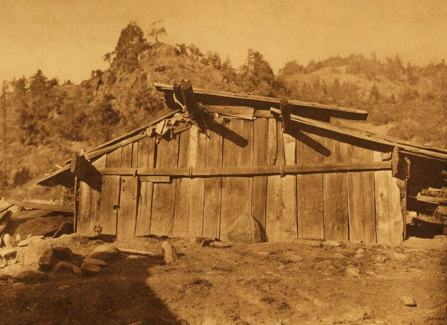 A Photograph of a House at Wakhtek [Yurok].