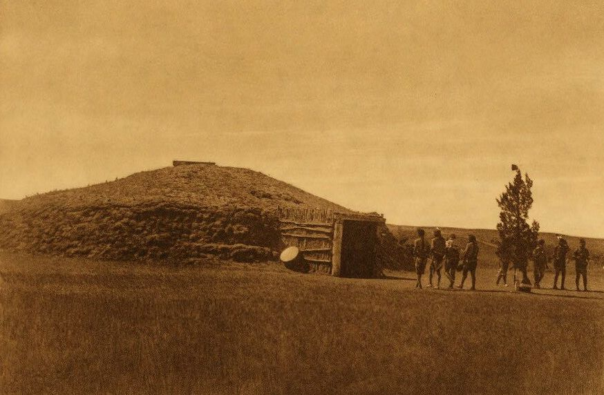 Photograph of Arikara Medicine Lodge.