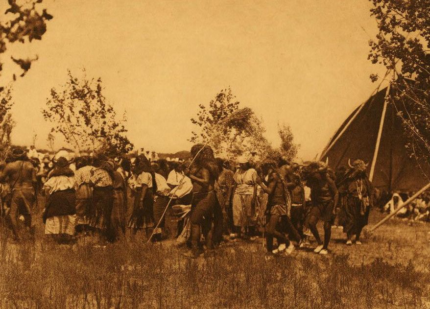 A Photograph of A Cheyenne Buffalo Society Animal Dance.