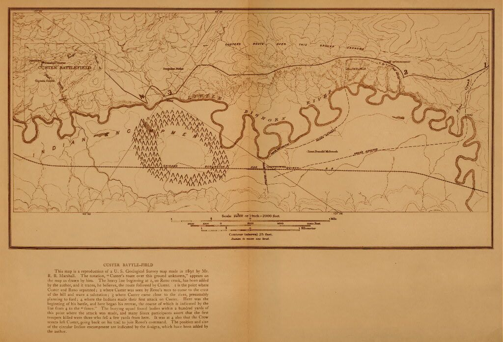 A Photograph of The Custer Battle Field Map.