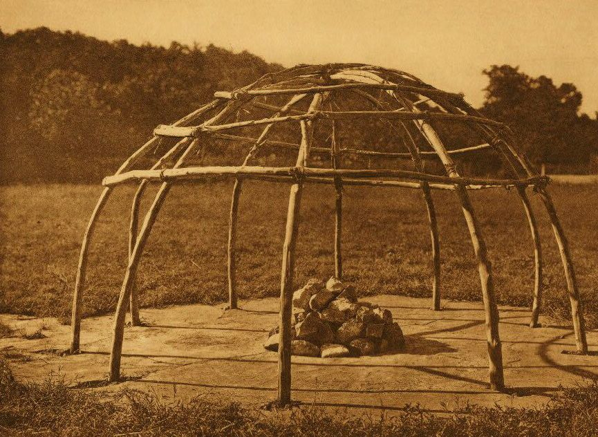 A Photograph of a Frame of a Peyote Sweat Lodge.