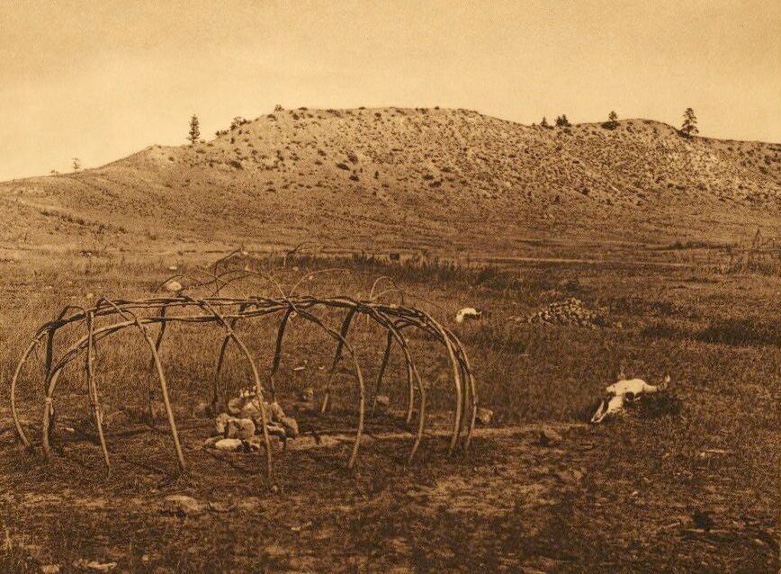 A Photograph of A Cheyenne Sweat Lodge Frame.