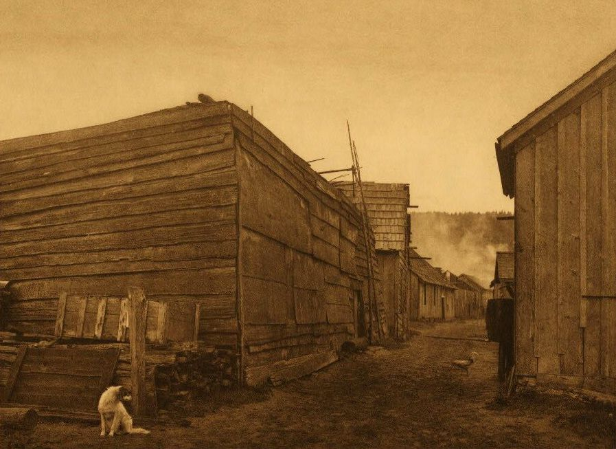 A Photograph of A Village Scene at Neah Bay.