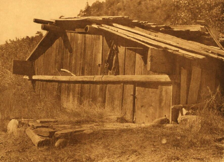 A Photograph of A Yurok House on Klamath River.