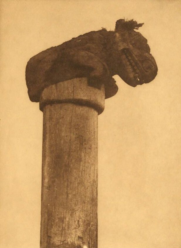 A Photograph of A Bear Totem at Massett.