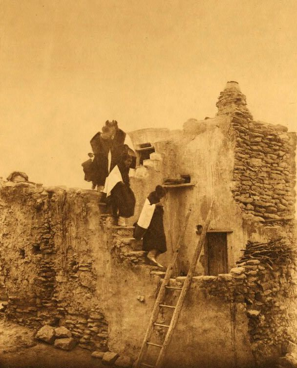 A Photograph of American Indians On a Walpi Housetop.