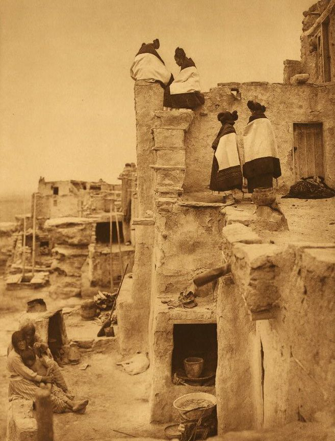 A Photograph of American Indian Women on The Housetop.