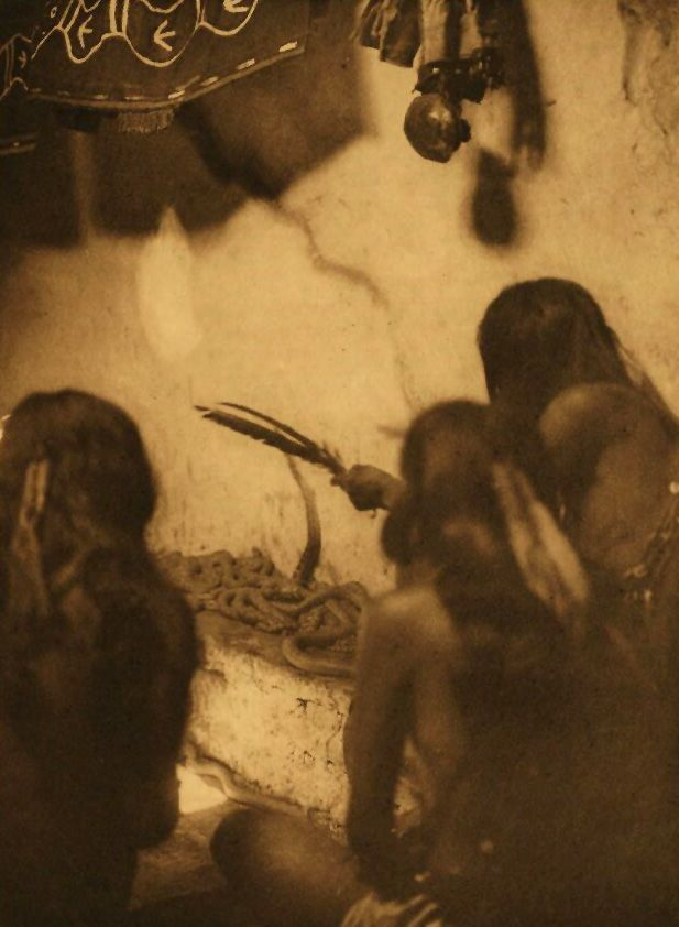A Photograph of American Indians Singing to The Snakes [Shipaulovi].