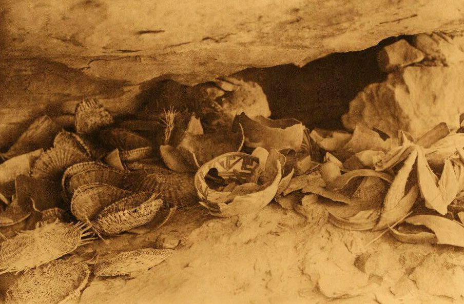 American Indian Pottery and Basketry : A Cave at Middle Mesa.