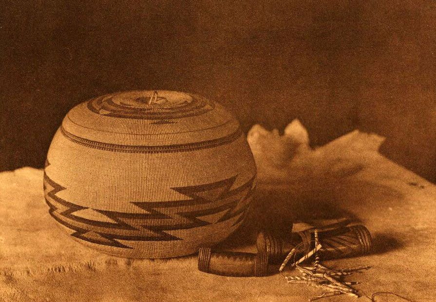 American Indian Pottery and Basketry : Hupa Basket and Purses.