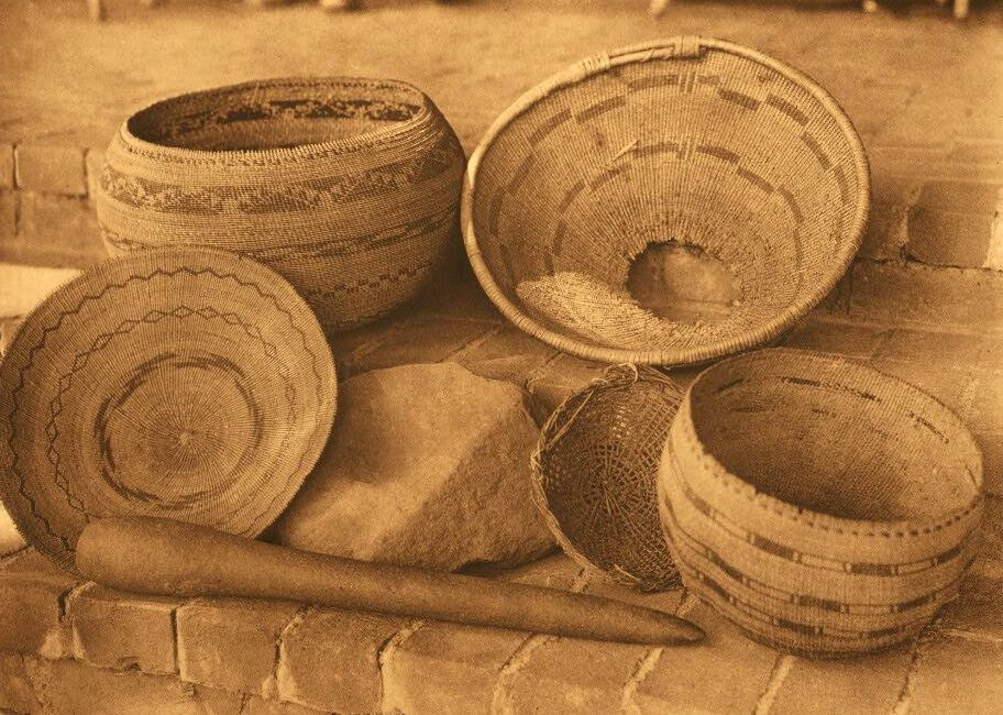 American Indian Pottery and Basketry : Pomo Baskets, Mortar and Pestle.