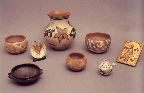 Southwestern Pueblo Polychrome Pottery Dated 1910-1940.