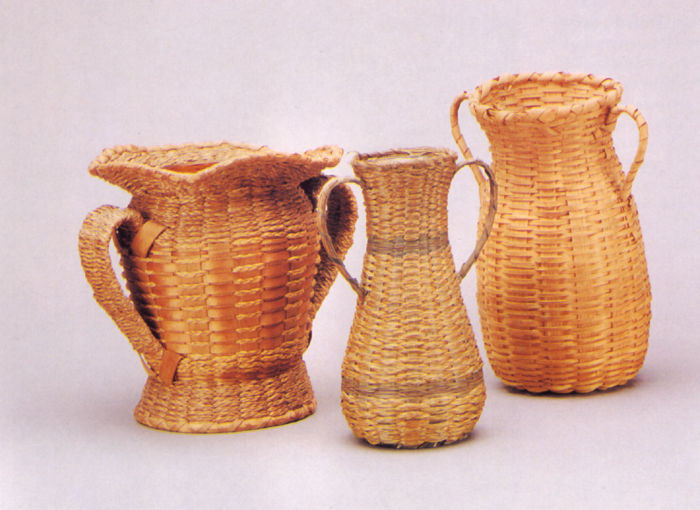 Three Basketry Vases for The Tourist Trade dated 1900-1930.