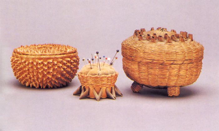 Two Micmac or Penobscot Sewing Baskets and a Pin Cushion dated 1900-1930.