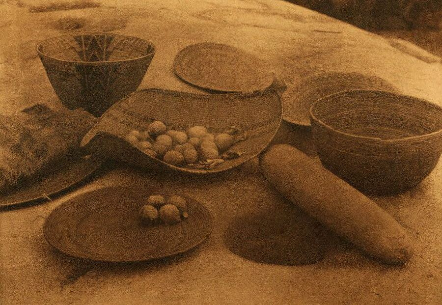 American Indian Pottery and Basketry : Yokuts Kitchen Utensils and Milling Stone.