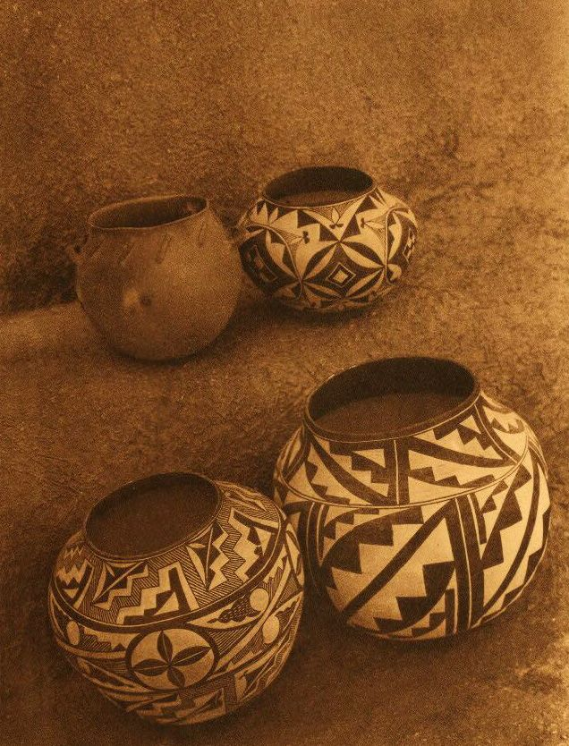 American Indian Pottery and Basketry : Laguna Cooking Pot and Acoma Water Jars.