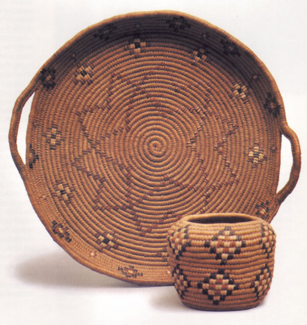 A Small Hopi made Basket and Handled Tray.