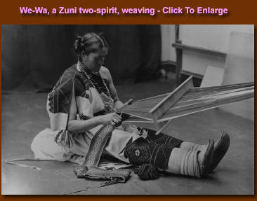 We-Wa, a Zuni Two Spirit, weaving.