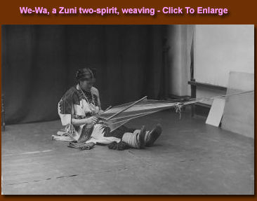 Another photograph of We-Wa, a Zuni two-spirit, weaving.