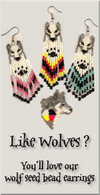 Wolf Seed Bead Earrings.