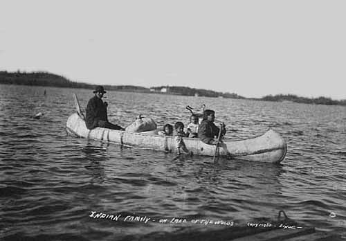 Native American Family in Birch Bark Canoe, Lake of The Woods.