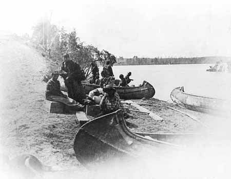 Ojibway Indian Landing at Walker c1896.