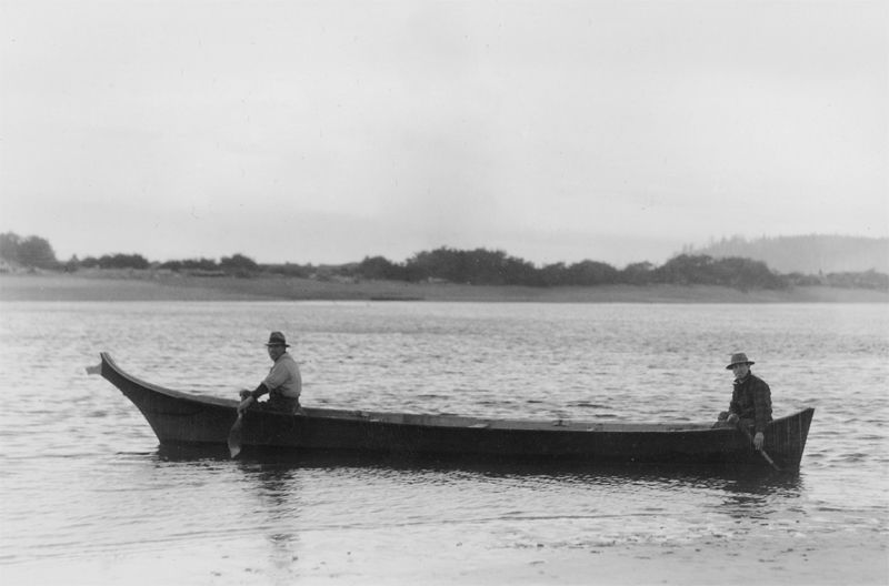 Quillayute Indians in a Canoe.