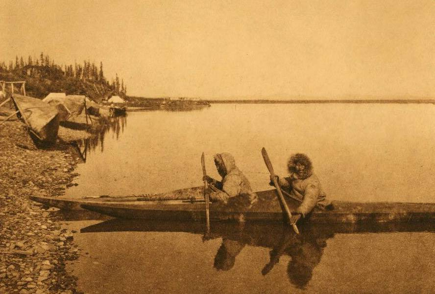 American Indian canoe photograph : At Noatak Village.