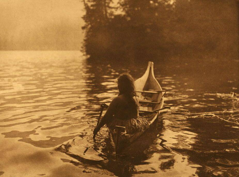 American Indian canoe photograph : Clayoquot into the Shadow.