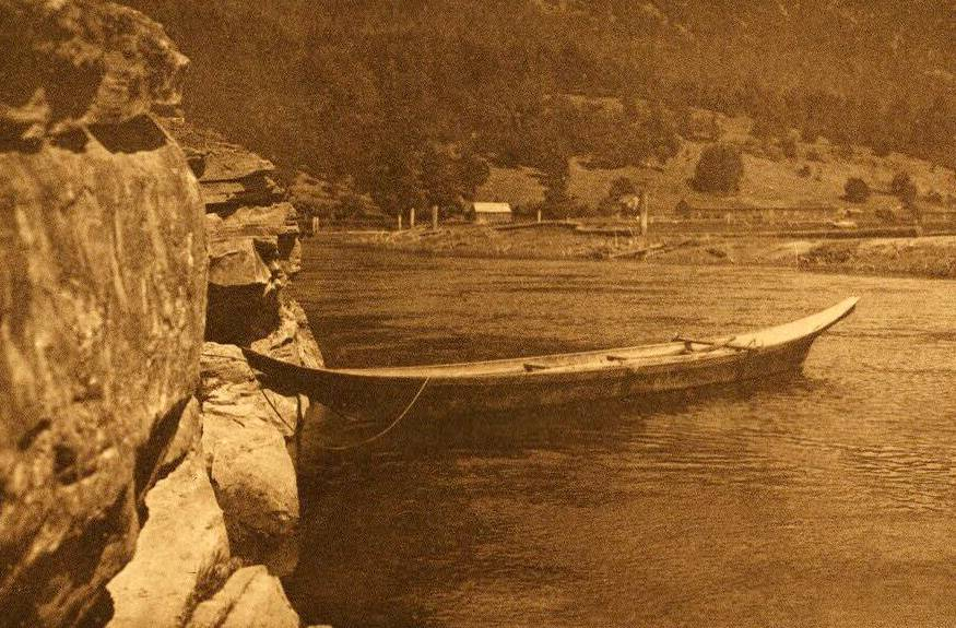 American Indian canoe photograph : Cowichan River.