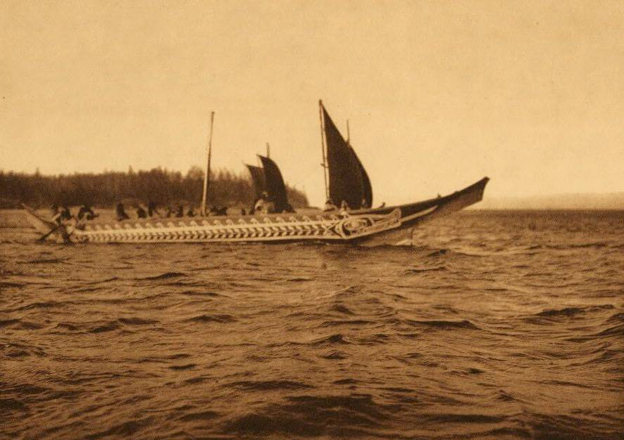 American Indian canoe photograph : Crossing the Strait.