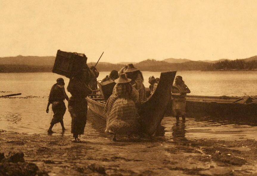 American Indian canoe photograph : Embarking.