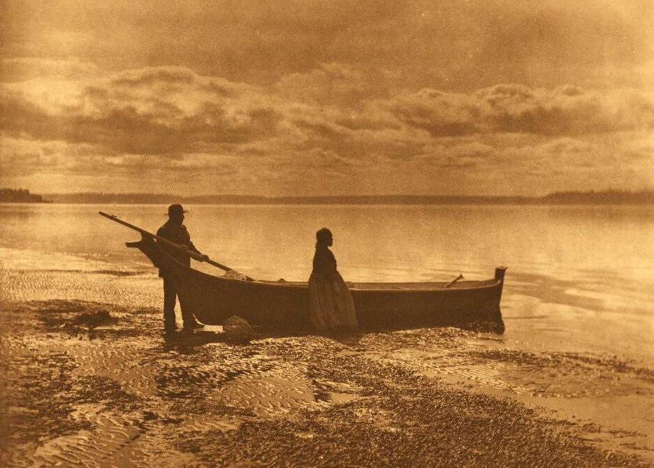American Indian canoe photograph : An Evening on Puget Sound.
