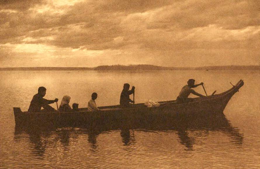 American Indian canoe photograph : Family Party at Puget Sound.