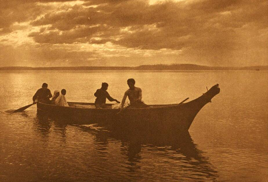 American Indian canoe photograph : Homeward Bound.