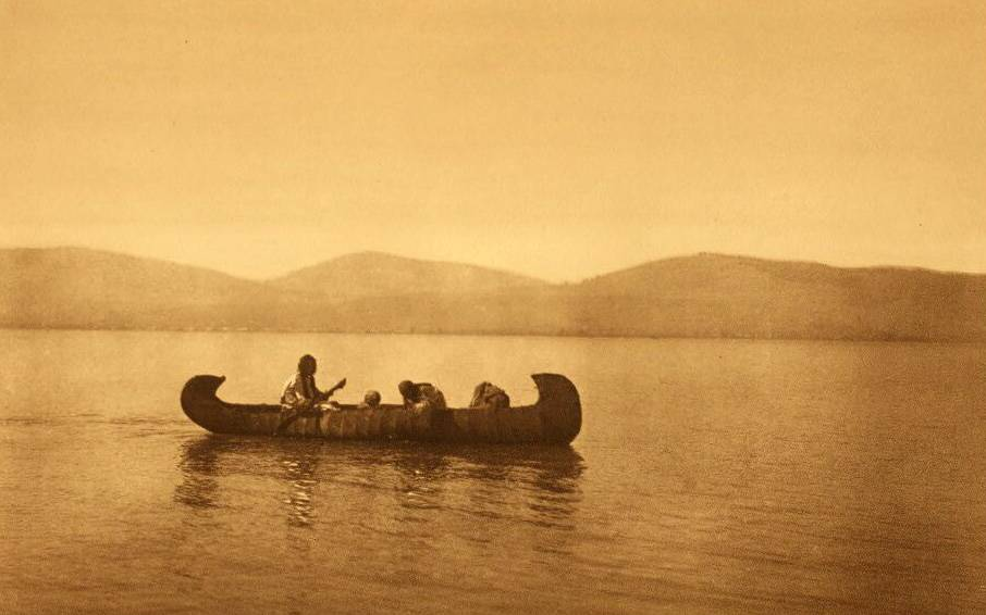 American Indian canoe photograph : Kutenai Indians Crossing the Lake.