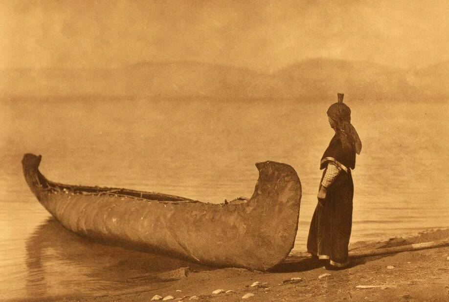 American Indian canoe photograph : Kutenai on the Shore of the Lake.