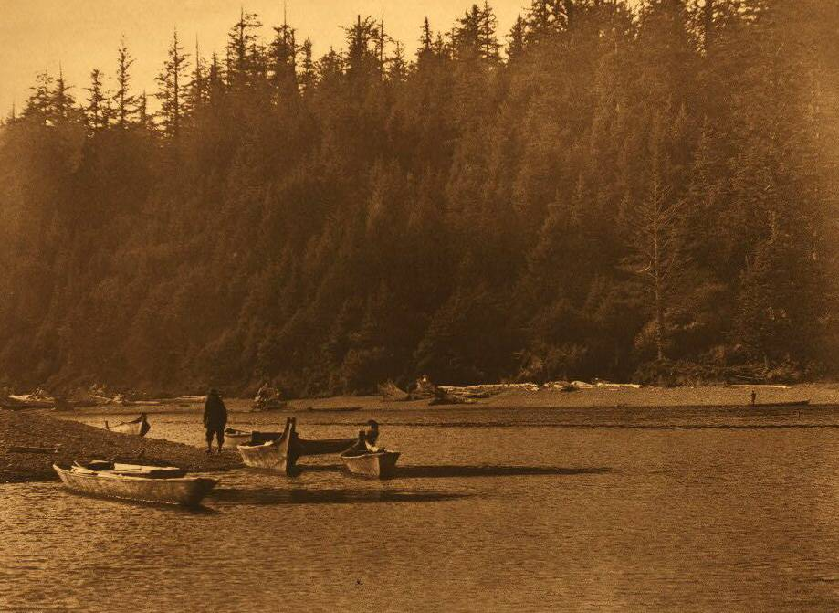 American Indian canoe photograph : Mouth of Quinault River.
