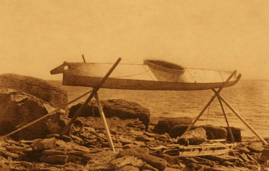 American Indian canoe photograph : Nunivak Kaiak on Rack.
