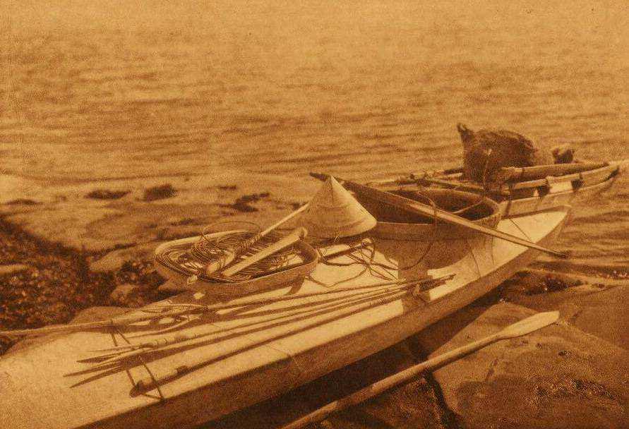 American Indian canoe photograph : Nunivak Kaiak with Seal Hunting Equipment.