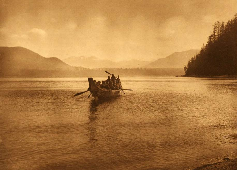 American Indian canoe photograph : Qagyuhl Chiefs Party.
