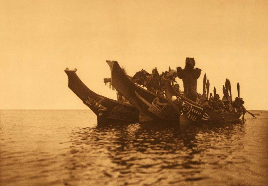 Qagyuhl Masked Dancers in Canoes [a].