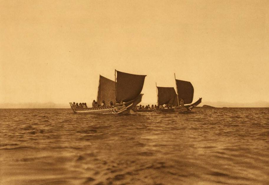 American Indian canoe photograph : Qagyuhl Sailing.