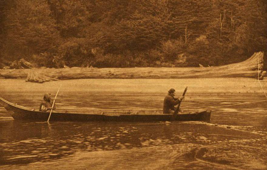 American Indian canoe photograph : Quinault Setting the Net.
