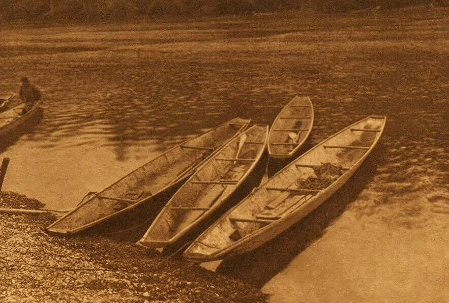 American Indian canoe photograph : River Shovelnose Quinault Canoes.