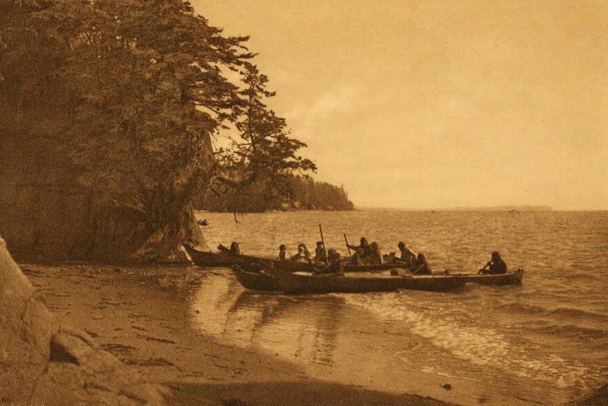 American Indian canoe photograph : Shores of Shoalwater Bay.