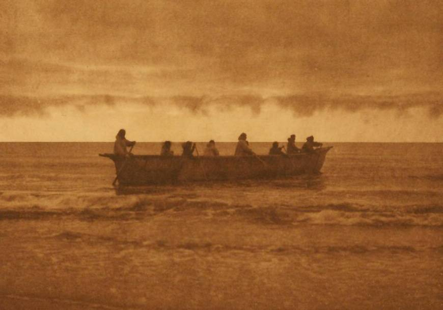 American Indian canoe photograph : Start of the Whale Hunt Cape Prince of Wales.