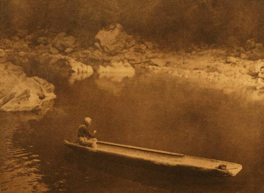 American Indian canoe photograph : Yurok in the Shadow.
